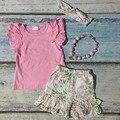 Primavera verano ropa de bebé girls floral ropa girls ruffle shorts rosa establece niños ropa de boutique con accesorios