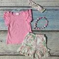 summer spring clothing baby girls floral clothing girls ruffle rose shorts sets children boutique clothing with accessories