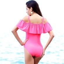 Raintropical 2019 New Sexy The Shoulder Solid Swimwear Women One Piece Swimsuit Female Bathing Suit Ruffle Monokini Swim Wear