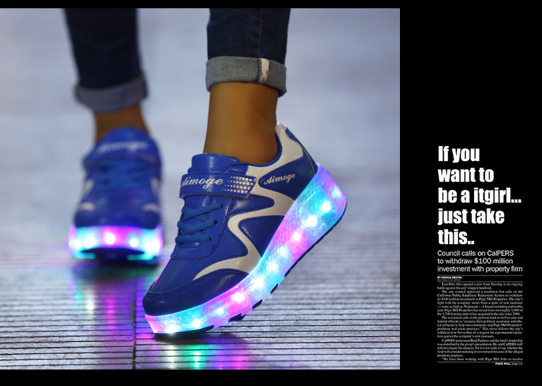 New Popular Kids Glowing Sneakers With Wheels Children Led Shoes Boys Girls Light Up Roller Skate Shoes Stars tenis de rodinha2