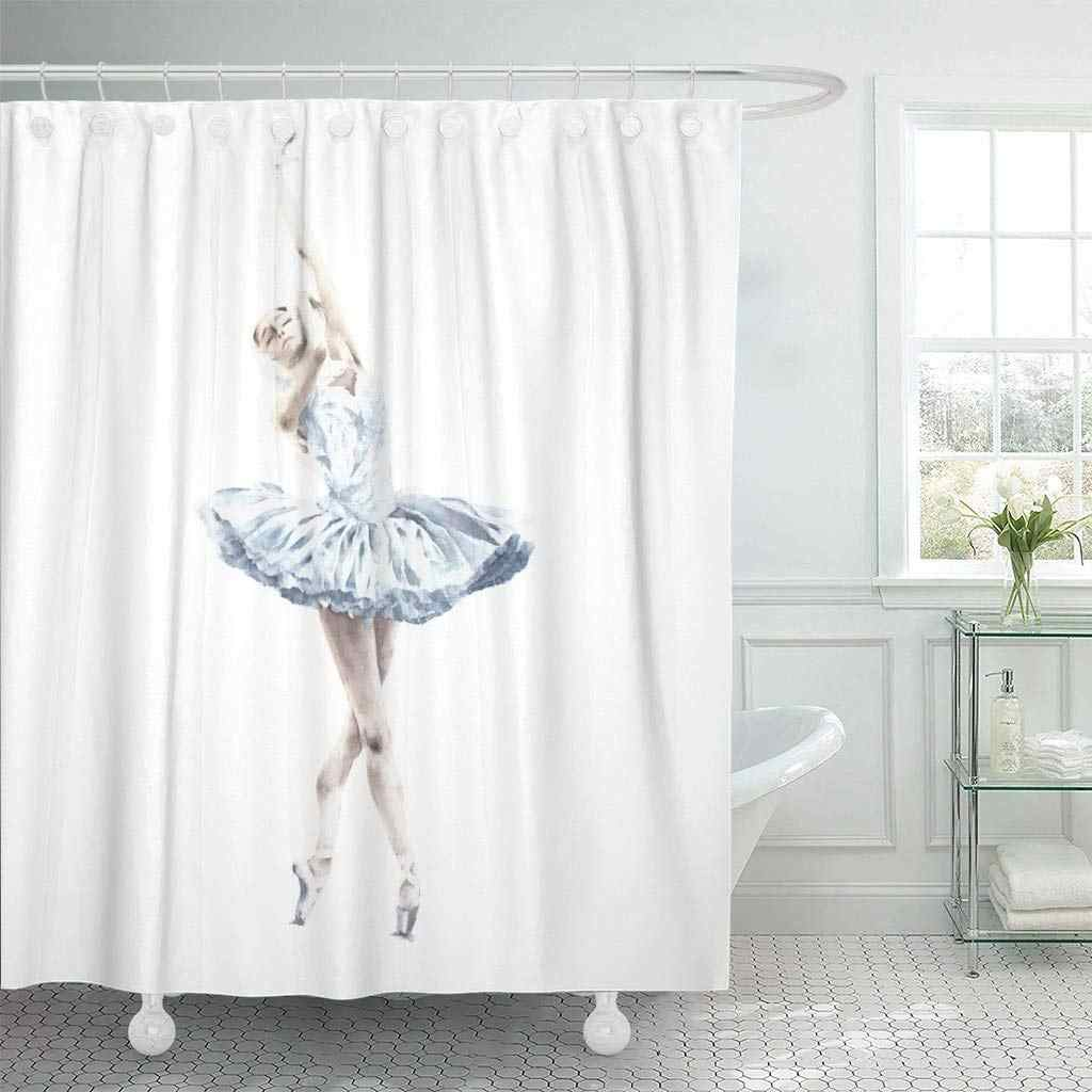 Fabric Shower Curtain With Hooks Action Ballerina Dancing Ballet