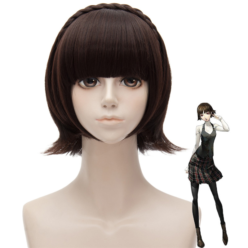 Anime/Game Persona5 Makoto Niijima Cosplay Wig Halloween,Party,Stage,Play Dark Brown Short Hair High quality