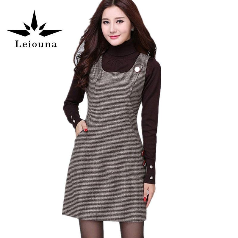 Leiouna New 2017 Women Autumn Winter Sundress Multicolor Cotton Warm Loose Skater Sweater Plaid Off Shoulder