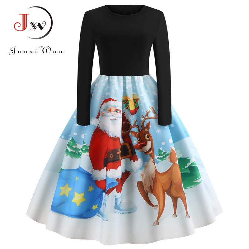 Winter Women Christmas Dress Long Sleeve Print Vintage Party Dress Elegant Black Patchwork Bodycon Dresses Vestidos Plus Size 9