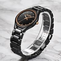 2019 SUNKTA ファッションカジュアルシンプルなローズゴールドフルブラックセラミック女性腕時計防水クォーツ時計女性ガールドレスブレスレット