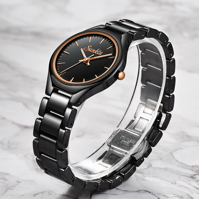 2019 SUNKTA Fashion Casual Simple Rose Gold Full Black Ceramic Women Watches Waterproof Quartz Watch Women Girl Dress Bracelet