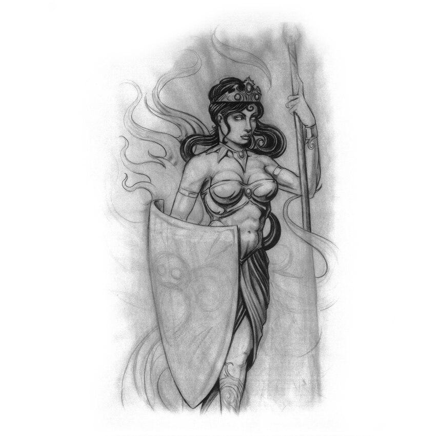 Guardian of the fighting goddess Temporary Tattoo Templates Waterproof  tatuagem tattoo Sleeve Tatoo harajuku henna tattoo kids
