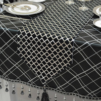 Fashion Amazing Chinese style black Geometric lattice table runner Lace Luxury Table flag