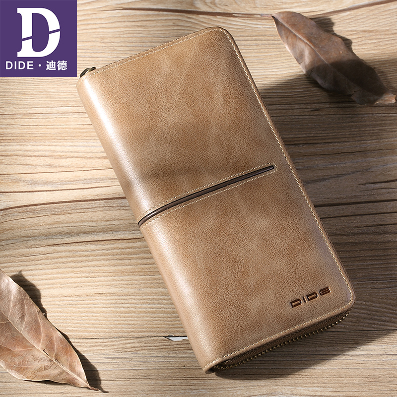 DIDE Men Wallet Genuine Leather Long clutch wallets for men Cowhide Fashion Male Wallets Zipper Coin Purse Luxury Brand Design p kuone men s clutch wallet luxury shining oil wax cowhide men clutch bag man long genuine leather wallets male coin purse bags