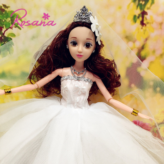 Rosana Lovely Princess Wedding Dresses Gown with Veil for Barbie DIY ...