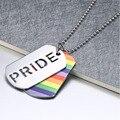 Fashion Hollow Collar Colgante de Doble Capa Collar del Arco Iris de Orgullo Gay Lesbian Party Colgante de Acero Inoxidable 316l Joyería