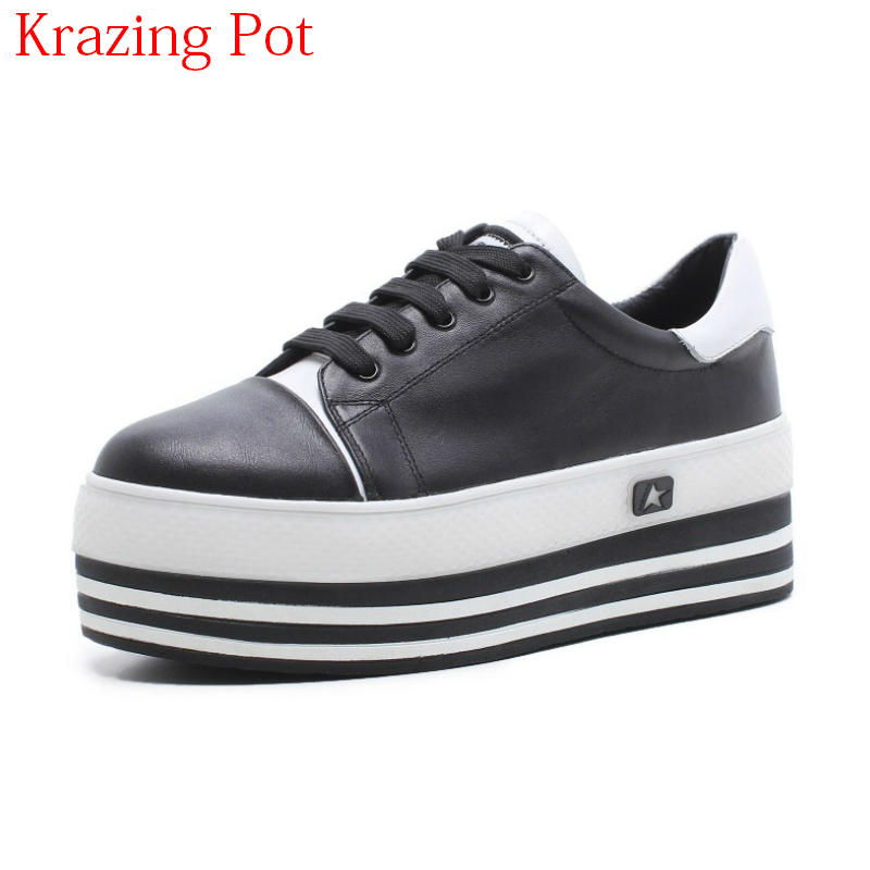 2018 Superstar Genuine Leather Lace Up Superstar Round Toe Sneakers Thick Bottom Casual Sh
