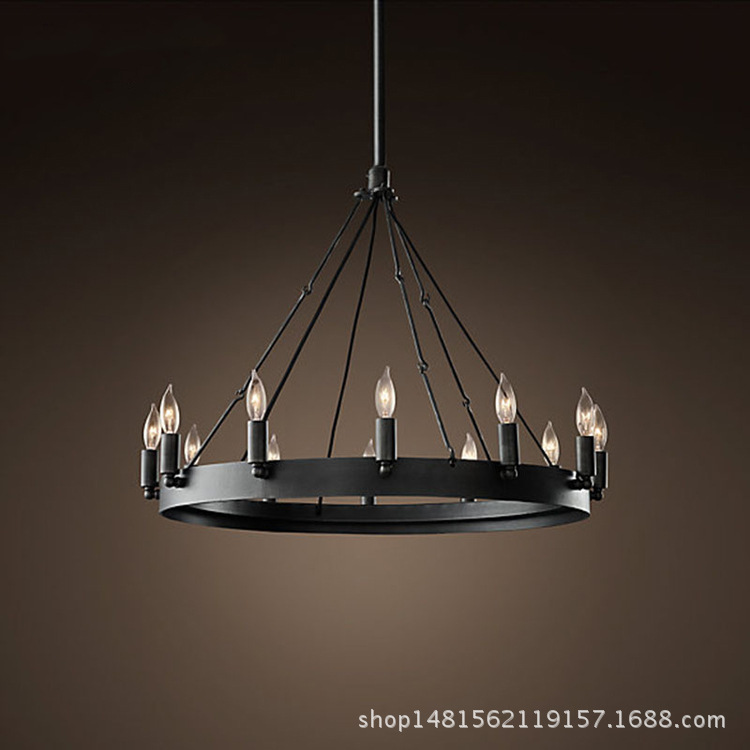 American style loft black iron art industrial round pendant light restaurant living room table hanging light lamp D65cm edison loft style vintage light industrial retro pendant lamp light e27 iron restaurant bar counter hanging chandeliers lamp