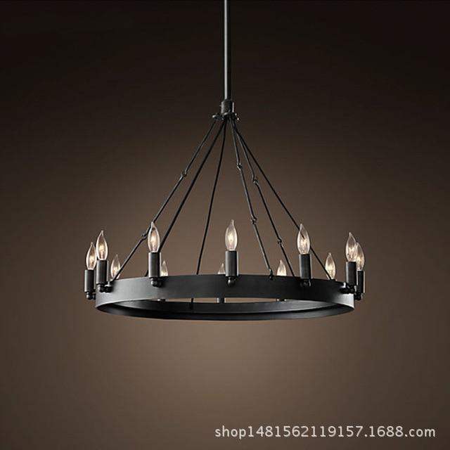 Wohnzimmer Hangeleuchte Style | Amerikanischen Stil Loft Schwarz Eisen Kunst Industrie Runden