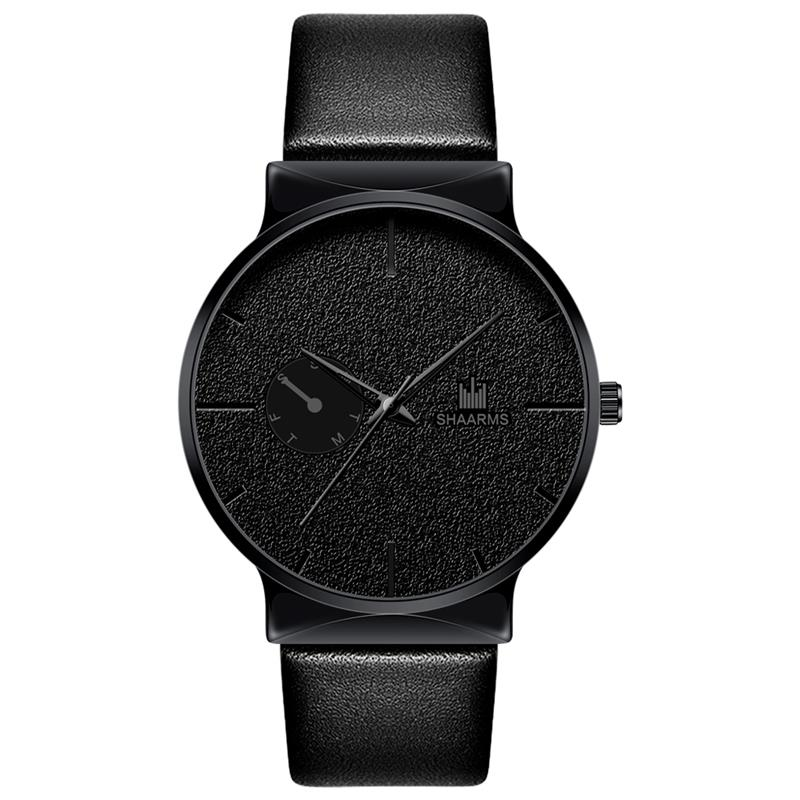 Fashion Men Minimalism Watch Luxury Brand Leather Band Stainless Steel Quartz Wristwatch Male Men Business Watches Black
