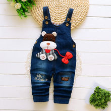 DIIMUU Kids Infant Boys Girls Clothing Cartoon Denim Overalls Jeans Printing Casual Long Trousers Children Bodysuits Jumpsuit(China)