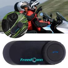 купить FreedConn T-COMOS Motorcycle Helmet interphone Wireless Earphone Intercom for 3 Rider FM Radio Headphone Springs дешево