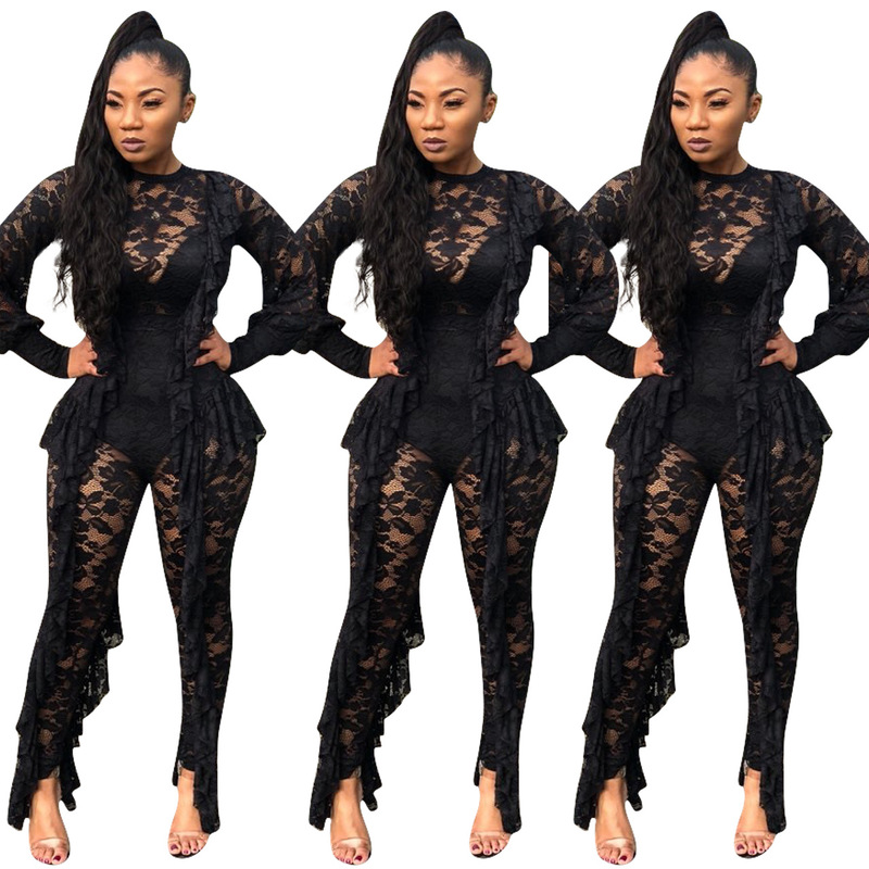 Night Club Women S Wear  Autumn And Winter Lace Sexy Perspective Pants Women Jumpsuit
