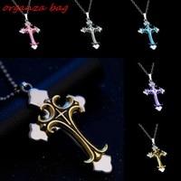 MIC 10pcs Fashion Christian Plating Drops Cross Pendant Necklace Clavicle Necklace 5 color Optional