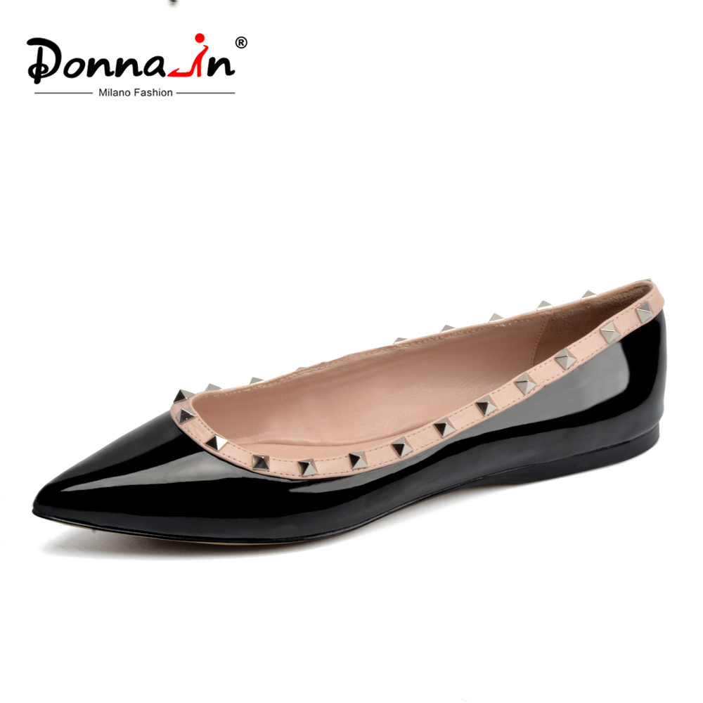 Donna-in 2018 New arrival Women Leather Flat Shoes Pointed Toe Rivet Casual Female Flats Fashion Comfortable Black Ladies Shoes minika new arrival 2017 casual shoes women multicolor optional comfortable women flat shoes fashion patchwork platform shoes