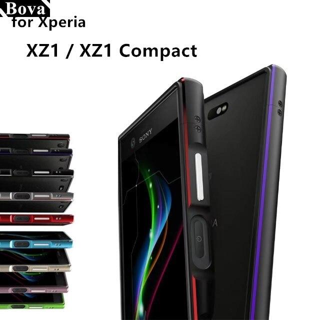 Luxe Ultra Mince Anti-Choc De Protection Cas de butoir en aluminium pour Sony Xperia XZ1 Compact XZ1 + 2 Film (1 Avant + 1 Arrière)