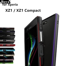 Luxury Ultra Thin Shock-Proof Protective Case aluminum Bumper case for Sony Xperia XZ1 Compact XZ1 + 2 Film (1 Front +1 Rear)