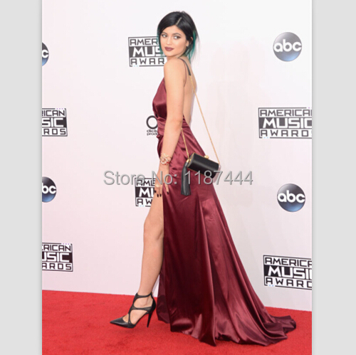 Kylie Jenner oxblood satin Halter prom gown 2014 American Music Awards  Evening dresses red carpet celebrity gowns-in Celebrity-Inspired Dresses  from ... 95fd0e18b288