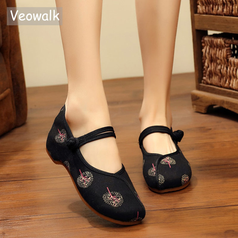 Veowalk Vintage Embroidery Women Canvas Mary Janes Flats Elegant Ladies Casual Cotton Embroidered Comfort Walking Shoes