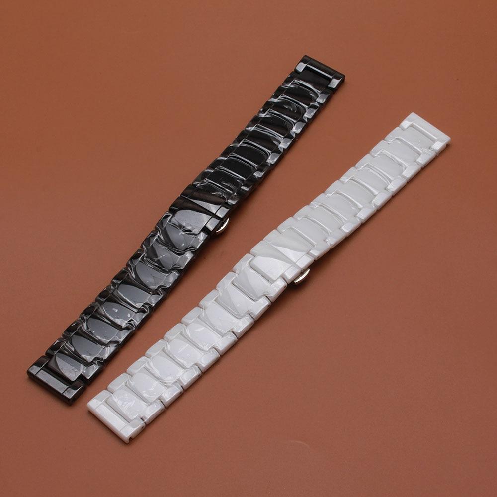 22mm Argintie Depolyment Banda de înaltă calitate Ceas alb negru Ceramica Ceasuri Brățare accesorii lustruite accesorii mai lungi
