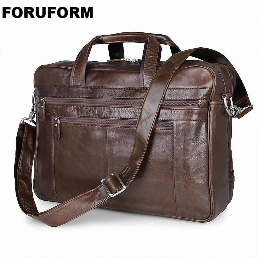 8e1219607bb5 ①Из натуральной кожи Для мужчин Портфели 17 дюймов Бизнес сумка для ...