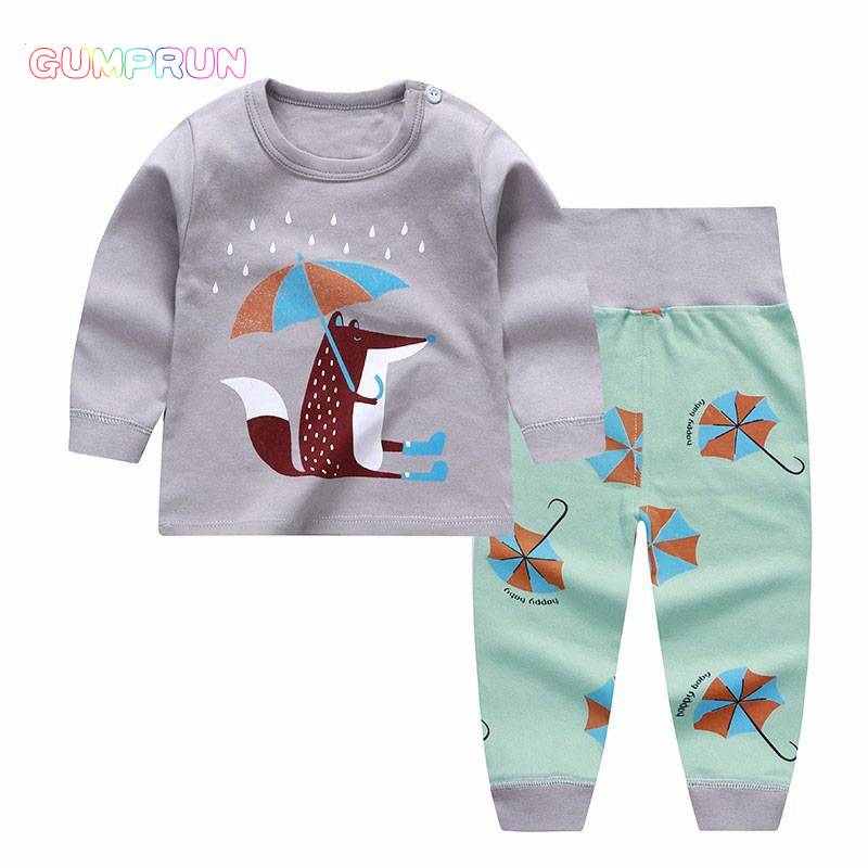 Newborn Winter Clothes Cute Fox Printed Girl T-shirt Set Casual Children Clothes Boys Winter Clothes For Kids Girls Clothing kids autumn clothes fashion letter printed boys t shirt set casual children clothing girl winter clothes for kids baby clothing