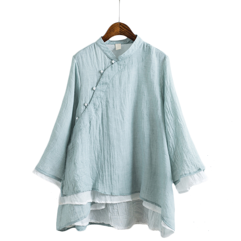 Vintage Chinese Style Pearls Oblique Button Double Layer Cotton Linen Shirts Women Stand Collar Full Sleeve