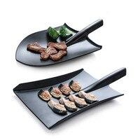 黒クリエイティブ皿グリル人格シャベルスタイリング模造磁器レストランメラミン食器 WF626358