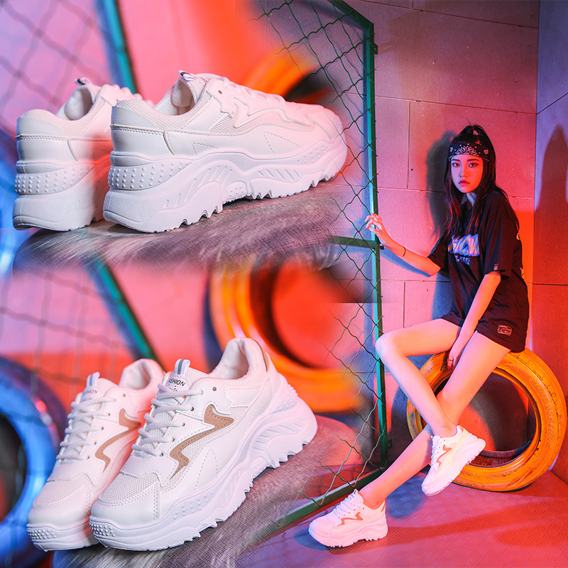 2019 New Sprinhg Autumn Women Shoes White Shoes Fashion Wild Platform Footwear Breathable Mesh Casual Shoes Sneakers
