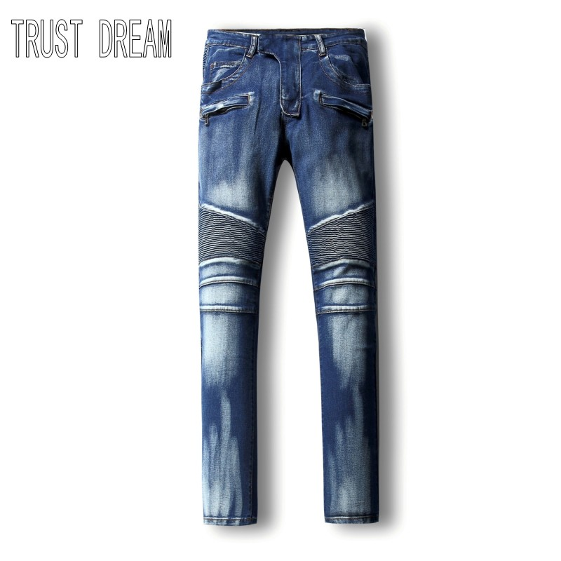 TRUST DREAM European Style font b Men b font Fashion Slim Panelled Washed White Personal Stretch