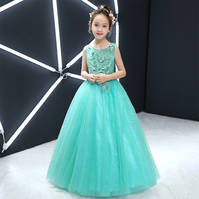 2018 New Princess Formal Ball Gown Toddler Baby Girls Birthday Party Dress Sleeveless Green Ankle-Length Lace Dress Outfit 2-15Y new girls dress summer lace vest sleeveless princess peng baby girl children england style knee length crew neck ball gown