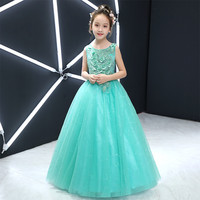 2018 New Princess Formal Ball Gown Toddler Baby Girls Birthday Party Dress Sleeveless Green Ankle Length Lace Dress Outfit 2 15Y