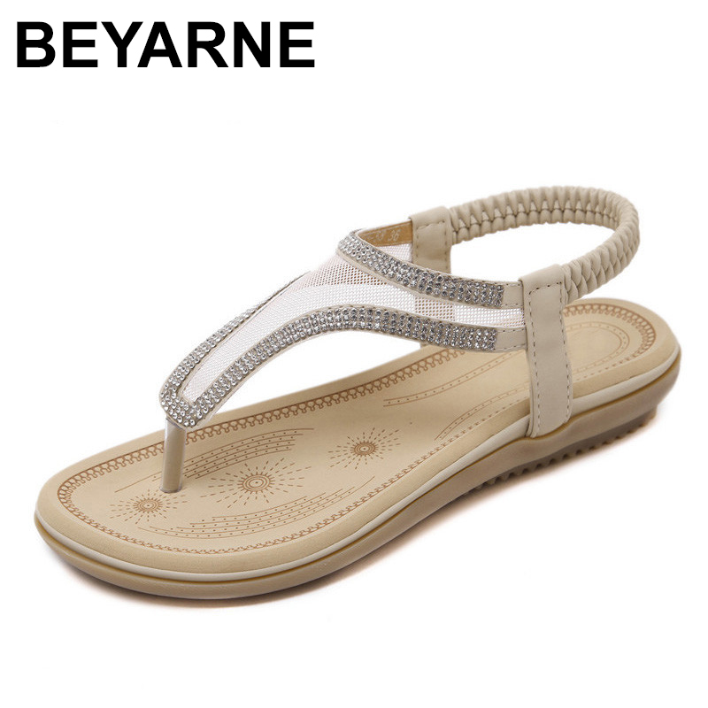 BEYARNE New summer Bohemia sandals shoes woman fashion rhinestone mesh flip flop beach soft flat sandals Elastic band size 35-41 woman shoes flip flops sandals foam zapatos mujer ladies shoe summer wedge high heels bohemia beach flip flop casual sapatos new