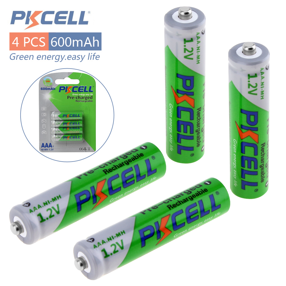 4pcs! Pkcell 1.2V Ni-Mh AAA Rechargeable Battery 600mAh Real Capacity LSD Pre-charged NiMh AAA Batteries Set With 1200 Cycle 1 4pcs aaa rechargeable battery pack 4 8v 600mah 3a ni mh nimh batteries ni mh cell for rc toys emergency light cordless phone