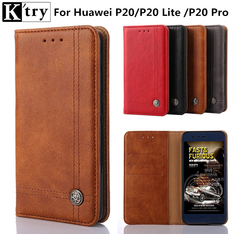 Luxury Leather Flip Case For Huawei P20 Case P20 pro Case Protective Wallet Phone Cover  ...