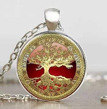 US Movie Gold Tree of Life Cabochon Mens Handmade Fashion Necklace brass silver Pendant steampunk Jewelry Gift women toy chain 1