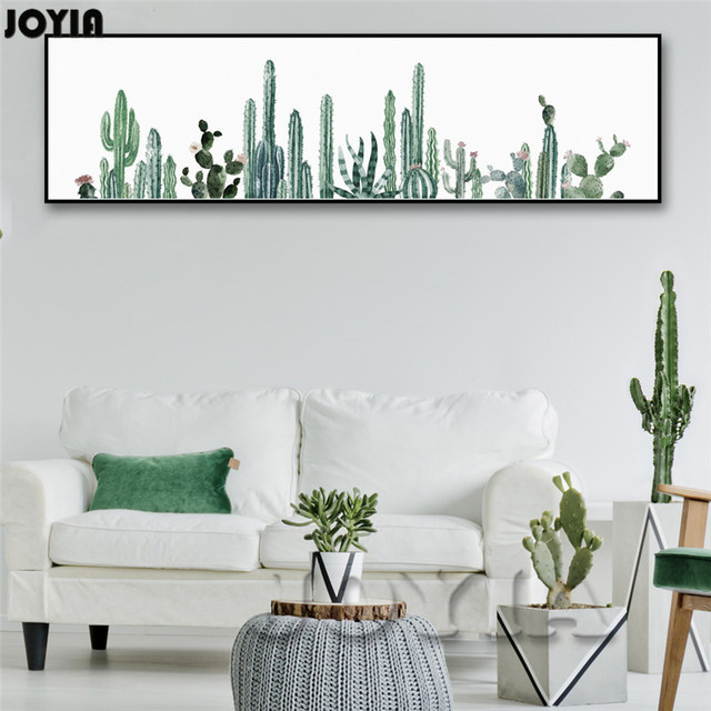 Large Watercolor Tropical Plants Wall Art, Wall Decor Cactus Art ...