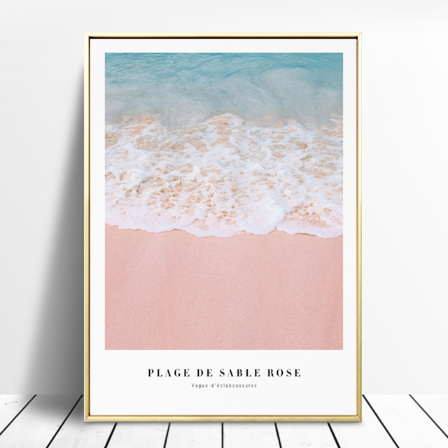 Plage De Sable Rose Poster And Print Wall Art Canvas Painting ...