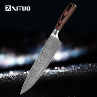 XITUO High Quality 8 Inch Utility Chef Knives Imitation Damascus Steel Santoku Kitchen Knives Sharp Cleaver
