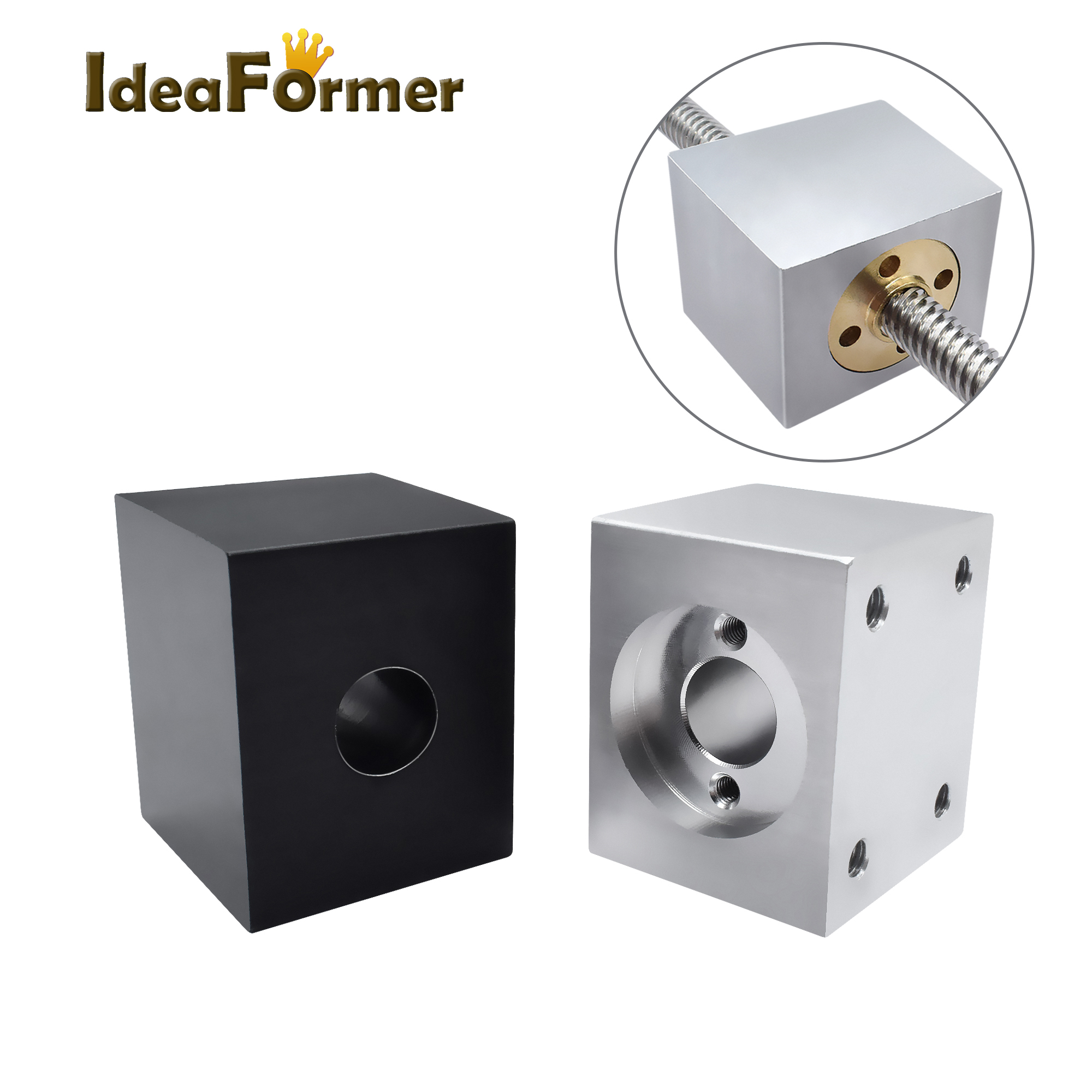 Ideaformer T8 Lead Screw Nut Housing Bracket For 3D Printer Parts T8 Trapezoidal Lead Screw Conversion Nut Seat Aluminum Block