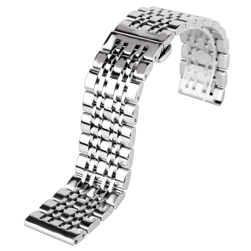 Classic 20/22/24mm Watchband Silver Stainless Steel Metal Watch Band Strap with Push Button Hidden Clasp + 2 Spring Bars carlywet 22 24mm silver solid screw links replaceme 316l stainless steel wrist watch band bracelet strap with double push clasp