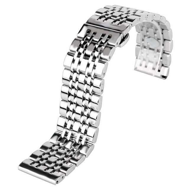Classic 20/22/24mm Watchband Silver Stainless Steel Metal Watch Band Strap with