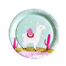 Llama Alpaca Paper Plates Birthday Party Decorations Kids Plates/Cups/Napkins Baby Shower Supplies