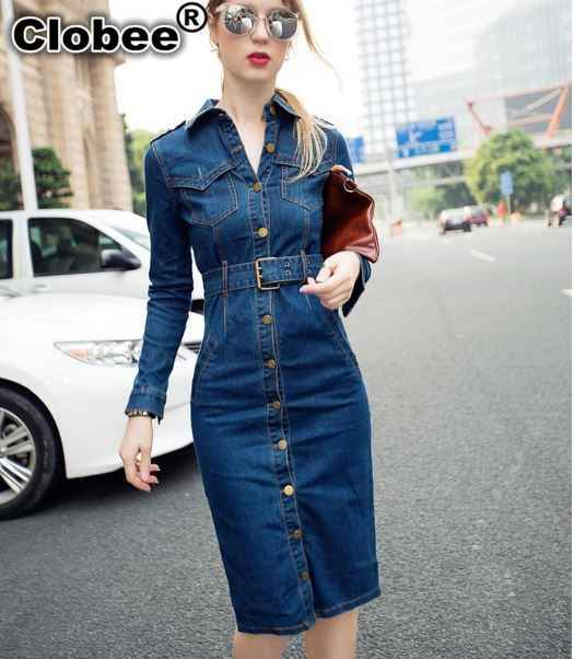 Maxi size s-4XL feminino Spring Women Big Denim Dress Long Sleeve Vintage Retro pencil Dress With Belt LT012 vintage kleid