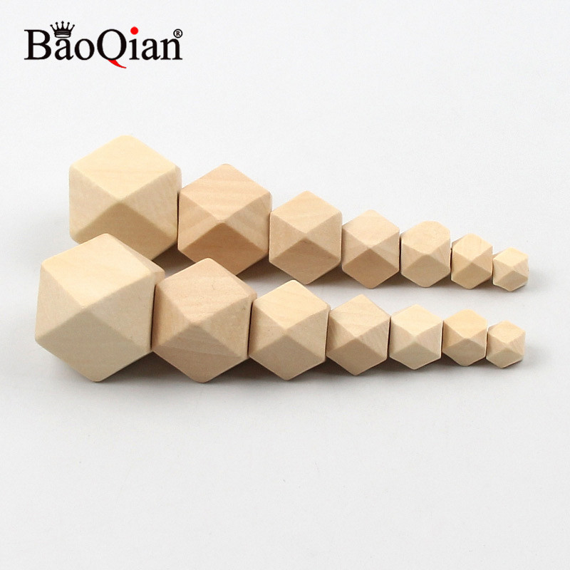 10-30MM unfinished Geometric Natural Wooden Beads For Jewelry Necklace Making Diy Children Kids Teething Home Crafts Decoration
